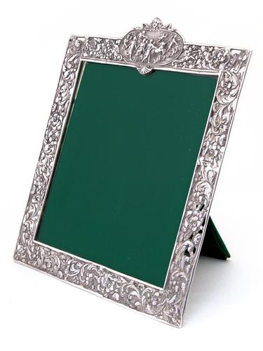 Antique Square Silver Frame with a Cartouche Depicting Females and Horses (1 of 7)