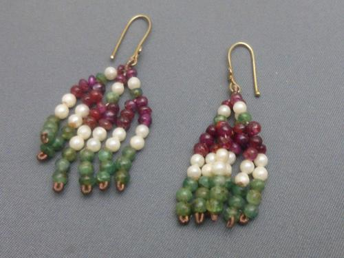 Pair of  Indian silver gilt,ruby,emerald beads and seed pearl earrings (1 of 5)