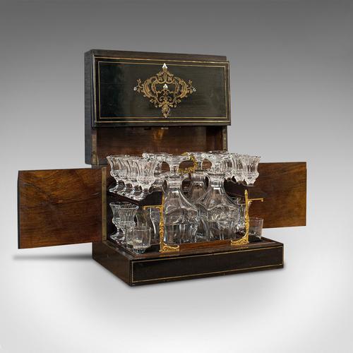 Antique Napoleon III Liquor Cellar, French, Liqueur Box, Glass Decanters, 1830 (1 of 12)