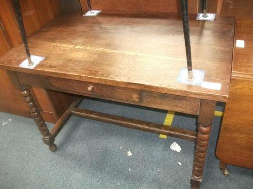 Solid Oak Bobbin Leg Table with Drawer (1 of 4)