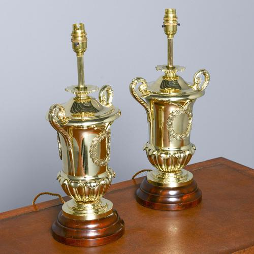 Victorian Pair of Urn Shape Cast Brass Lamps (1 of 10)