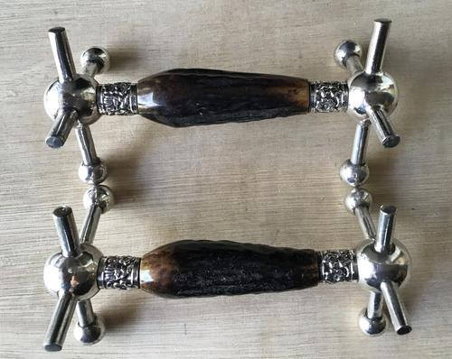 Pair of Victorian Silver Plated & Stag Horn Handle Knife Rests (1 of 7)