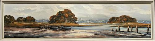 Edward Elliot (1850-1916) Superb Vintage Fishing Estuary Landscape Oil Painting (1 of 12)
