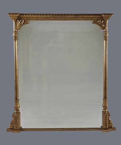 Stunning Large English Victorian Gilt Overmantle Mirror (1 of 6)