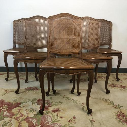 Vintage French Set of 6 Bergère Cane Dining Chairs Louis Style (1 of 8)