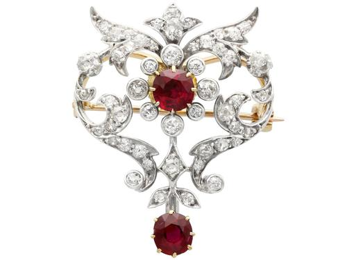 2.05ct Ruby & 1.70ct Diamond & 12ct Yellow Gold Brooch - Antique c.1910 (1 of 9)