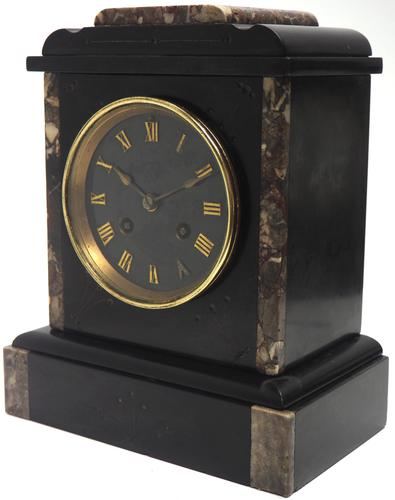 Antique French Slate & Marble Mantel Clock striking 8 day Mantle Clock (1 of 8)
