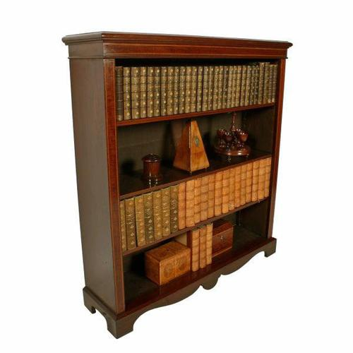Inlaid Mahogany Open Bookshelves (1 of 7)
