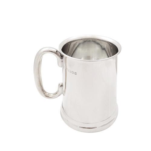 Sterling Silver Glass Bottom Pint Mug / Tankard 1932 (1 of 9)