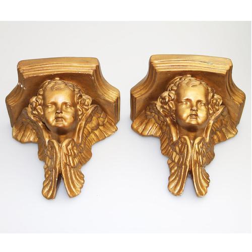 A Good Pair (2x) of Vintage Gilded Plaster Corbel Shelf Brackets C.1960 (1 of 15)