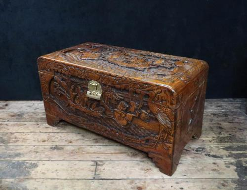 Oriental Carved Camphor Wood Chest c.1910 (1 of 12)
