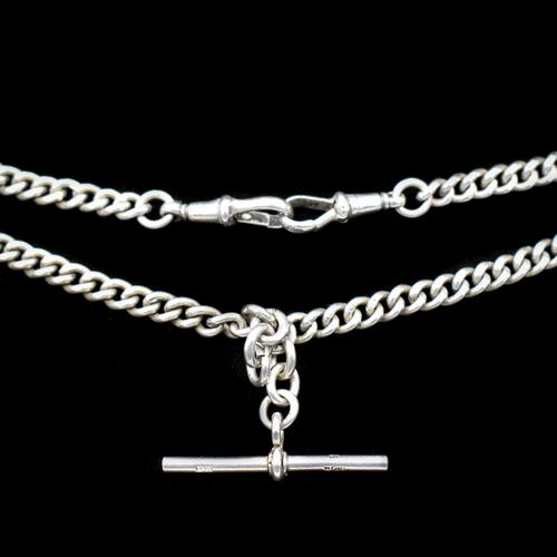 Birmingham 1922 Sterling Silver Double Albert Watch Chain Necklace (1 of 10)