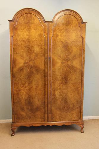 Burr Walnut Dome Top Double Hanging Wardrobe (1 of 9)