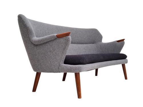 "Danish Sofa, Kurt Olsen Model 220 ""Banana"", Completely Renovated, 60s, Teak, Furniture Wool (1 of 15)"