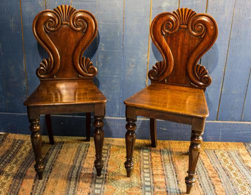 Pair of 19th Century Regency Style Hall Chairs (1 of 10)