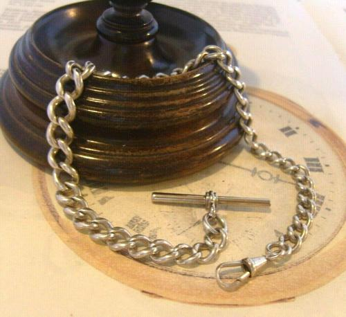 Antique Silver Pocket Watch Chain 1890s Victorian Graduated Curb Link Albert & T Bar (1 of 11)