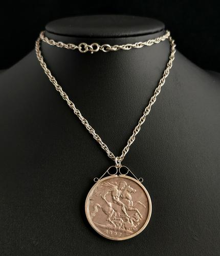 Victorian Silver Crown Pendant, Coin Necklace (1 of 11)