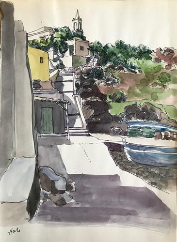 Original watercolour 'an Italian village and port' by Helen Hale. ROI. B.1936 Signed c.1970 (1 of 1)