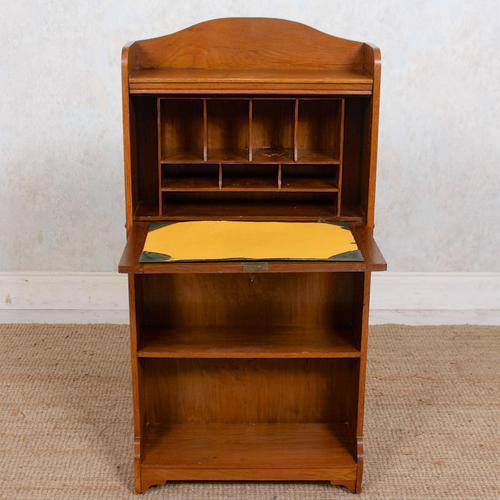 Edwardian Slim Oak Writing Bureau Arts & Crafts (1 of 9)