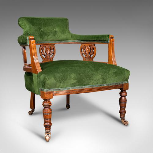 Antique Tub Chair, English, Velvet, Mahogany, Elbow, Seat, Edwardian c.1910 (1 of 12)