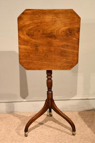 George III Mahogany Tripod Table Brass Casters (1 of 5)