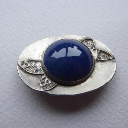 Arts & Crafts Pewter Brooch Dark Blue Stone (1 of 8)