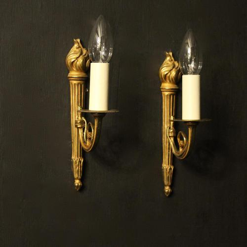 French Pair of Single Gilded Flame Antique Wall Lights (1 of 10)