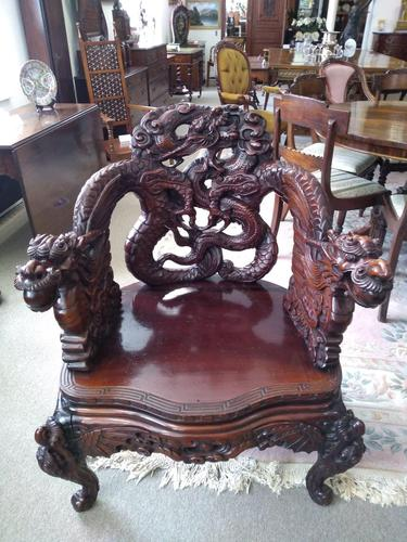 Antique Chinese Qing Dynasty Rosewood Throne Chair (1 of 10)