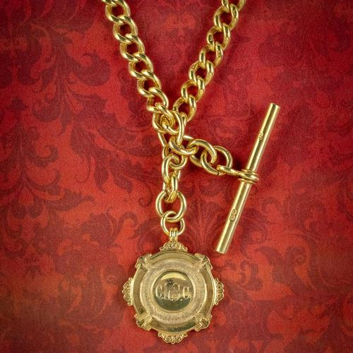 Antique Albert Chain Necklace Sterling Silver 18ct Gold Gilt Dated 1920 (1 of 9)
