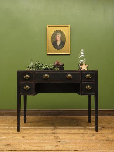 Antique Black Painted Console Table or Desk with Drawers, Gothic Shabby Chic (1 of 16)
