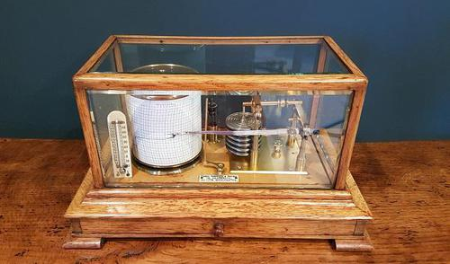 Antique Polished Oak Armstrong of Manchester Barograph (1 of 6)