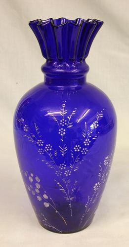 Antique Bristol Blue Glass Shaped Vase (1 of 5)
