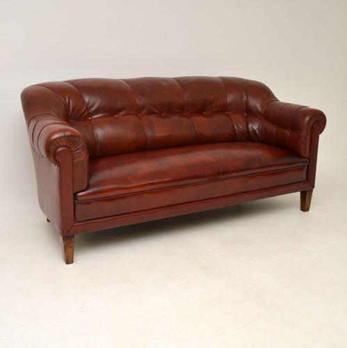 Antique Swedish Leather Club Sofa (1 of 11)