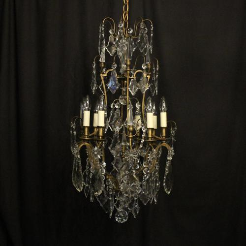 French Gilded 8 Light Antique Chandelier (1 of 5)
