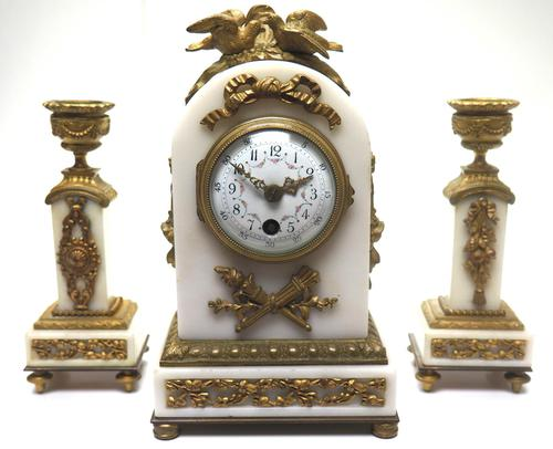 Incredible French White Marble Mantel Clock French 8-day Timepiece Garniture Clock Set (1 of 13)