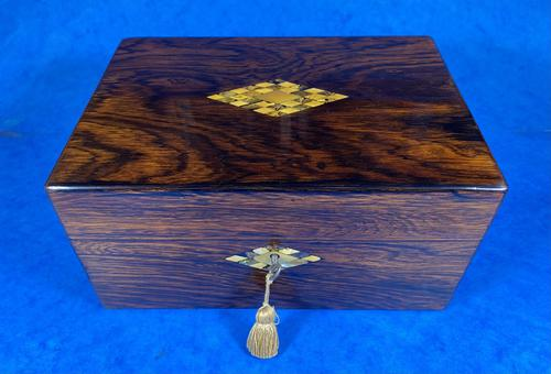 Victorian Rosewood Jewellery Box with Mother of Pearl & Abalone Escutcheons (1 of 14)