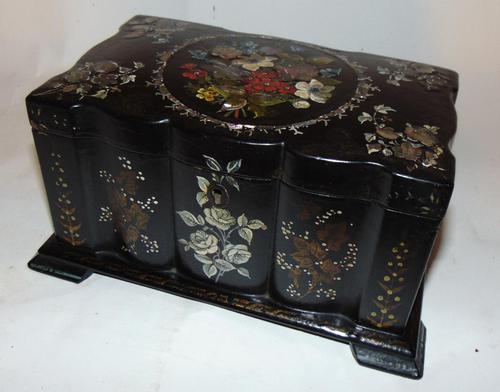 Victorian decorated papier mache tea caddy (1 of 6)
