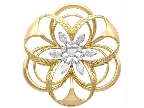 2.15ct Diamond & 18ct Yellow Gold Brooch - Vintage c.1960 (1 of 9)