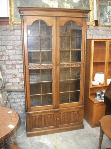 Tall Glazed Oak Linenfold Bookcase - 021-1365 (1 of 4)