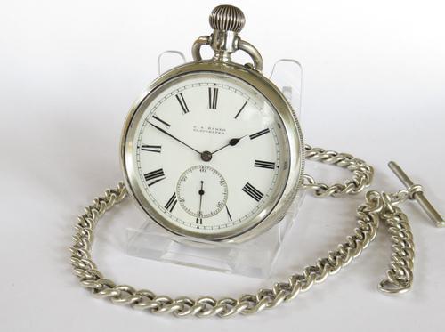 Antique Silver Ehrhardt Pocket Watch & Chain (1 of 4)