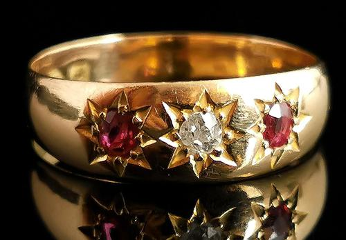 Antique Ruby & Diamond Gypsy Set Ring, 18ct Yellow Gold (1 of 10)