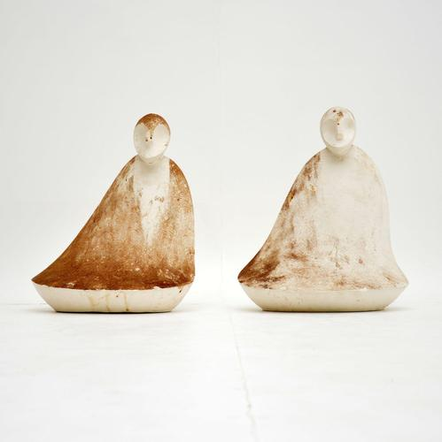 Pair of Distressed Clay  Sculptures  Vintage 1960's (1 of 10)