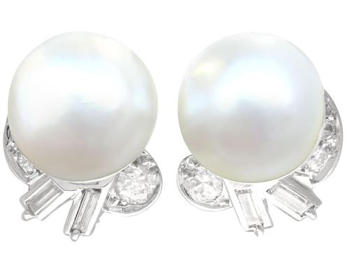 Cultured Pearl & 1.10ct Diamond, Platinum Clip on Earrings c.1930 (1 of 9)