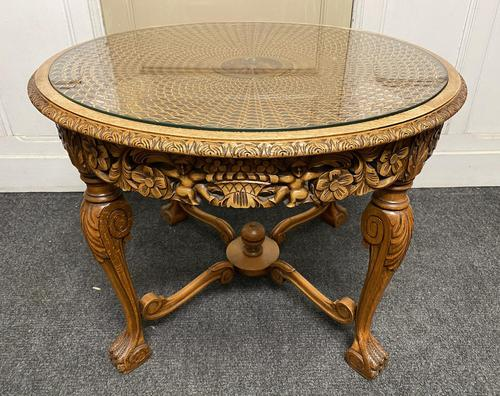 Round Walnut Glass Top Coffee Table (1 of 10)