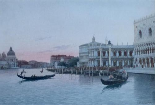 Eugenio Benvenuti Watercolour ' Venice at Dusk' (1 of 2)