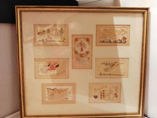 Early 20th century embroidered silk greetings cards (1 of 16)