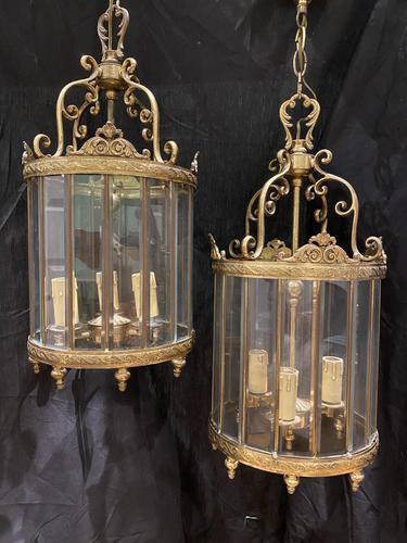 Pair of French Triple Light Circular Lanterns (1 of 11)