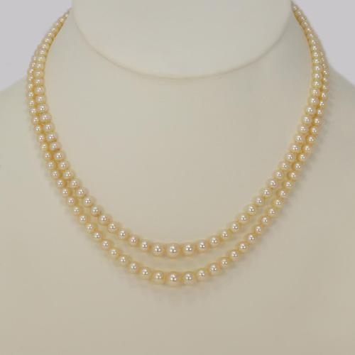 """Vintage Natural Pearl Necklace with Sterling Silver Art Deco Clasp Double Strand 18"""" (1 of 8)"""