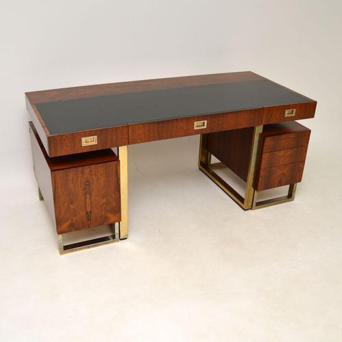 Rosewood & Brass Vintage Partners Desk (1 of 16)