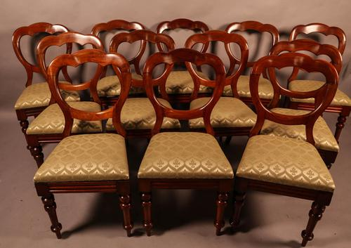 Good Set of 12 Victorian Mahogany Balloon Back Dining Chairs (1 of 9)